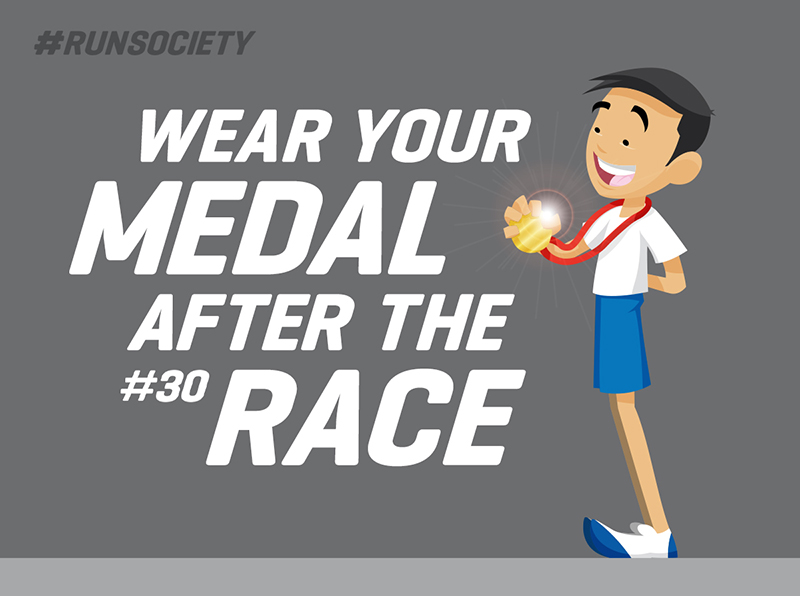 Wear your medal after the race