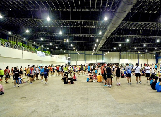 Runners arrive early to prepare themselves for the race