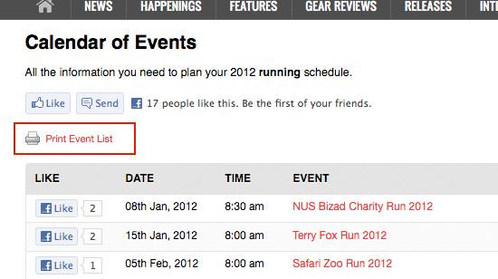 Singapore Running Calendar 2012 What S Up