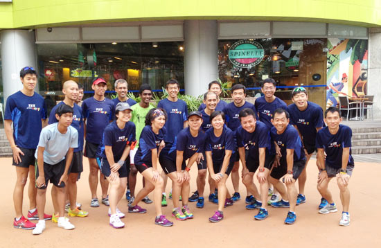 Brooks runners pose for photographs before setting off