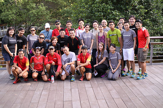 The Salomon team and media personnel pose for photographs after the walk