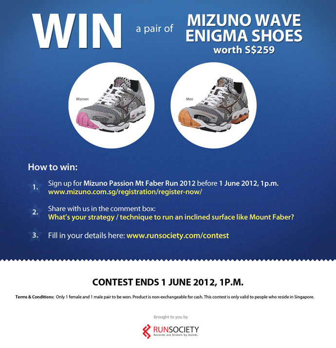 A Pair of Male and Female Mizuno Wave Enigma Shoes to be Won