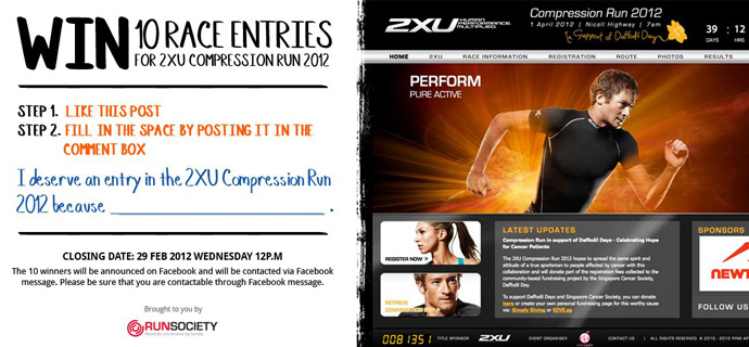Win 10 Race Entries for 2XU Compression Run 2012