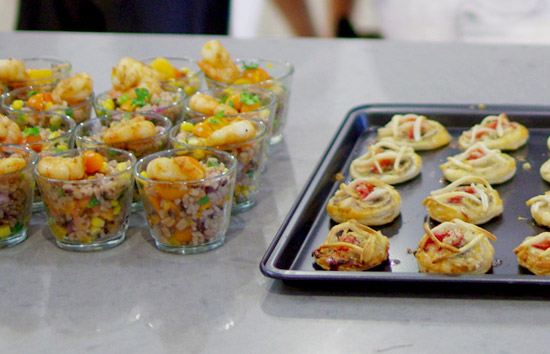 Brown/wild rice salad (left) and Asian fruit pastry (right)