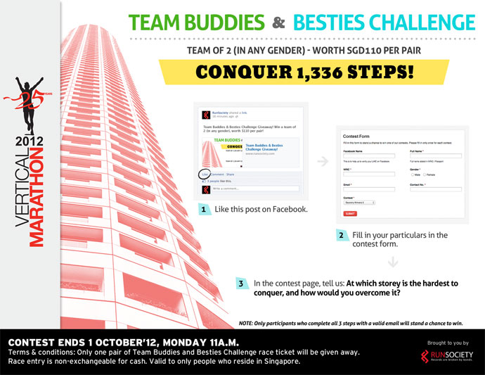 Swissôtel Vertical Marathon 2012: Win a Pair of Team Buddies & Besties Challenge