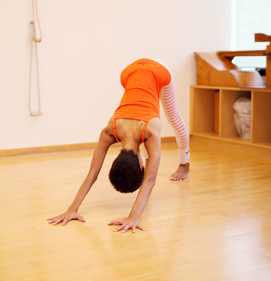 Pose #3: Downward facing dog- for hamstrings, calves and back and arms