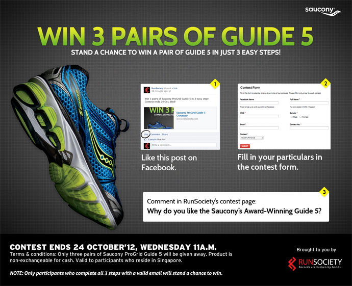 Win 3 Pairs of Saucony ProGuide Guide 5