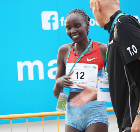 Irene Jerotich Kosgei crossed the finishing line at 2hrs 37mins 53 secs for the full marathon.
