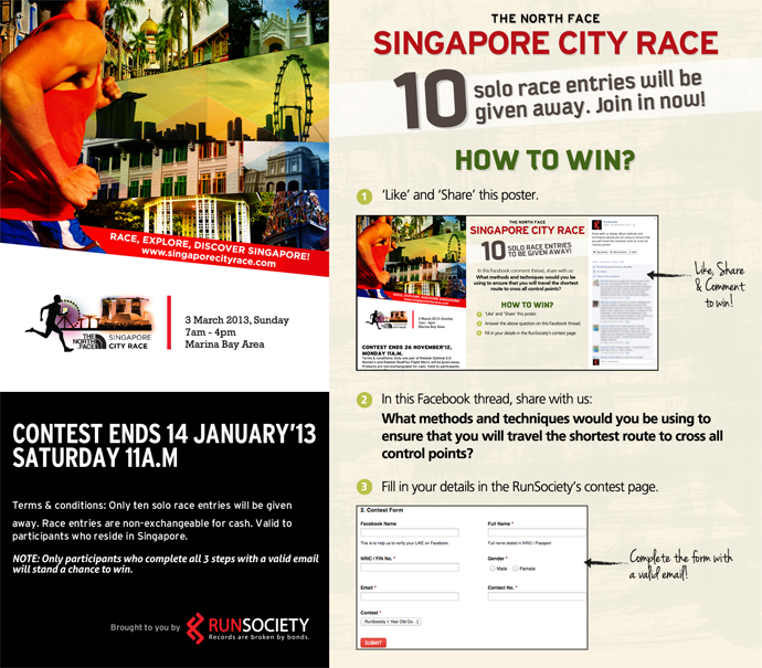 TNF Singapore City Race 2013: 10 Solo Race Entries Will Be Given Away