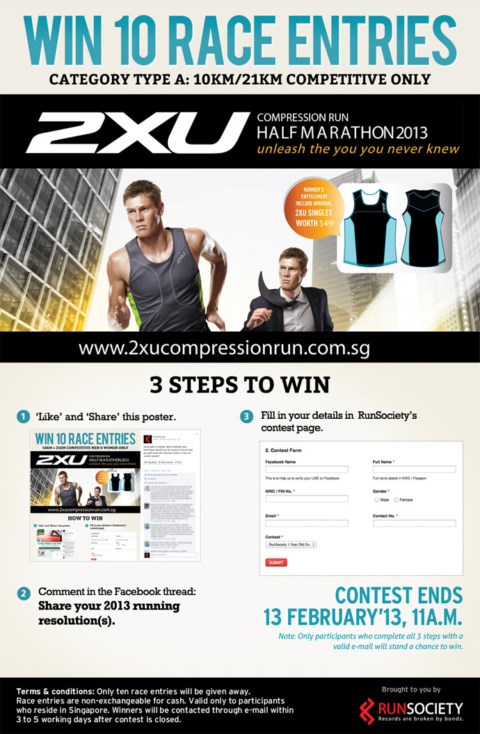 Win 10 Race Entries for 2XU Compression Run 2013