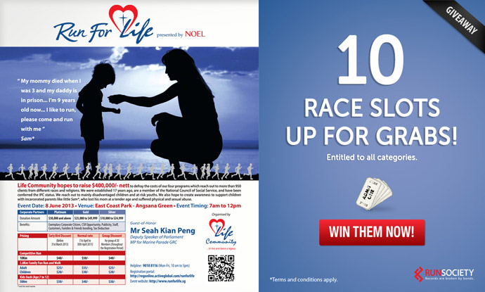 Win 10 Race Entries to Run For Life 2013