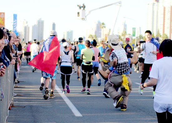 Spot runners clad in costumes along the run.