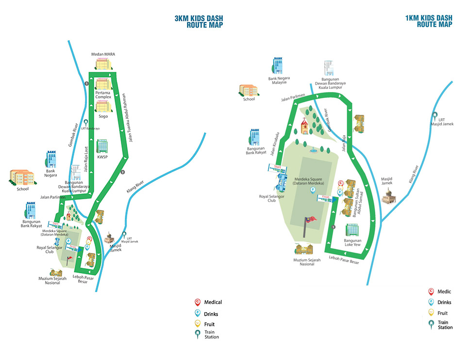 Standard Chartered Marathon KL 2014: 3km and 1km Route Map.