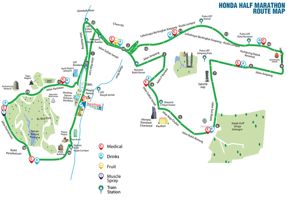 Standard Chartered Marathon KL 2014: 21km Route Map