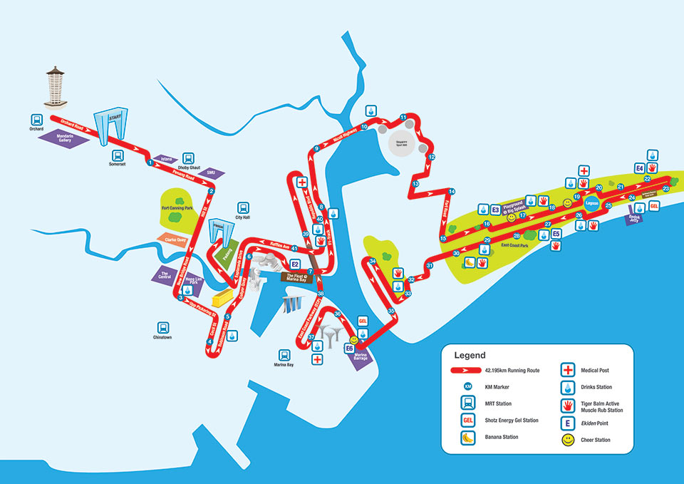 Standard Chartered Marathon Singapore 2014: 42km map