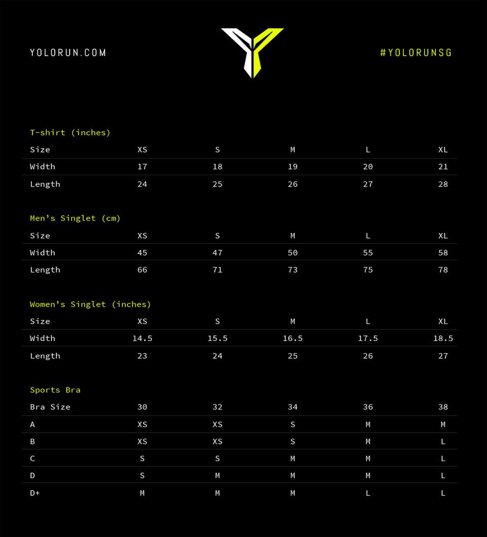 YOLO Run 2016 Size Chart