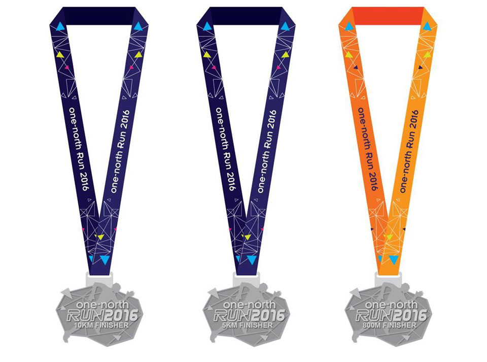 one north run 2016 race medal design