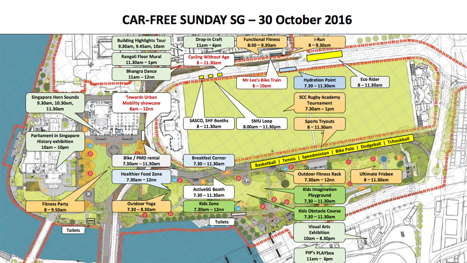 Line-up of activities for Car-Free Sunday SG 30 October 2016