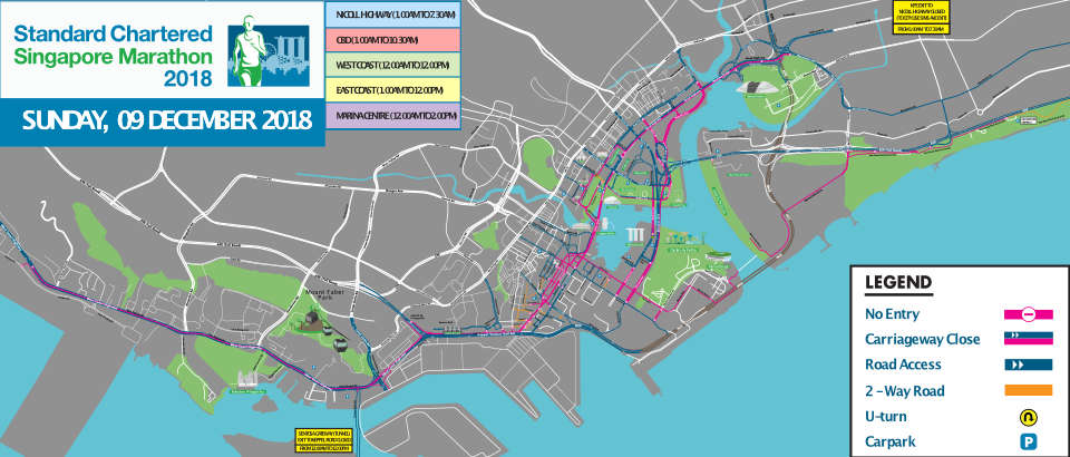 Road Access For The Standard Chartered Singapore Marathon 2018